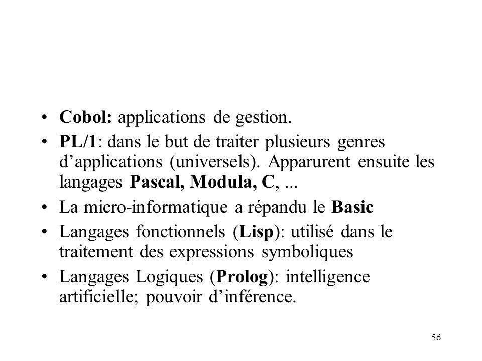 56 Cobol: applications de gestion. PL/1: dans le but de traiter plusieurs genres dapplications (universels). Apparurent ensuite les langages Pascal, M