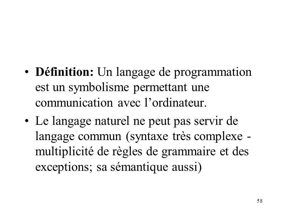 58 Définition: Un langage de programmation est un symbolisme permettant une communication avec lordinateur. Le langage naturel ne peut pas servir de l