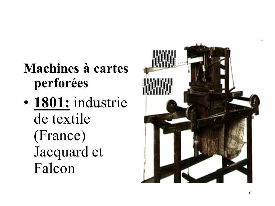 17 1949: EDSAC, par Maurice WILKES (Electronic Delay Storage Automatic Computer) Cet ordinateur numérique et électronique est basé sur l architecture de J.