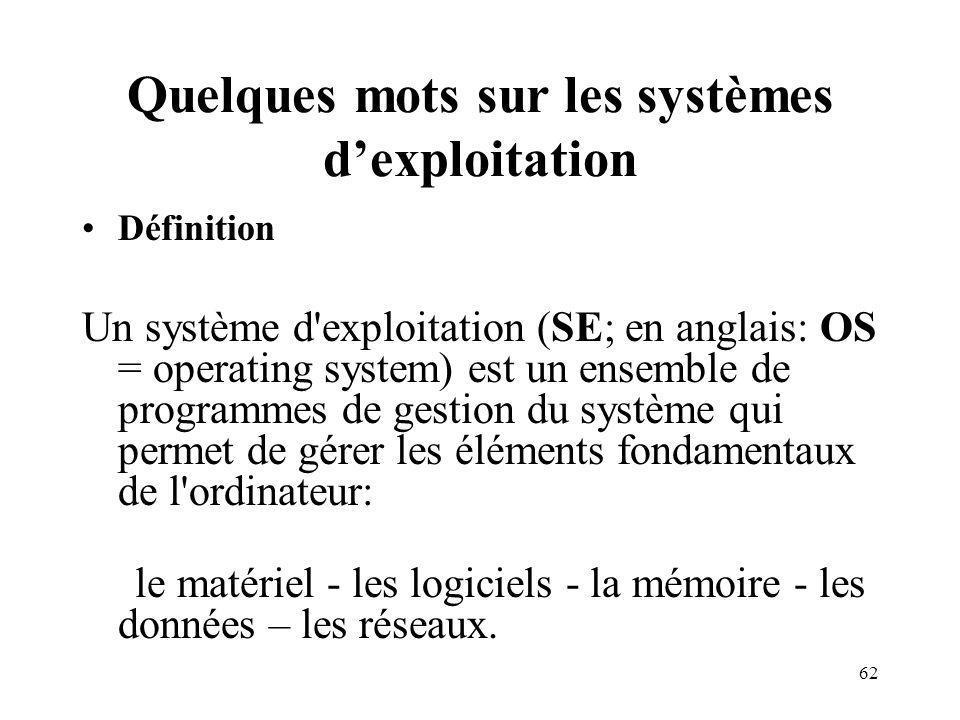 62 Quelques mots sur les systèmes dexploitation Définition Un système d exploitation (SE; en anglais: OS = operating system) est un ensemble de programmes de gestion du système qui permet de gérer les éléments fondamentaux de l ordinateur: le matériel - les logiciels - la mémoire - les données – les réseaux.
