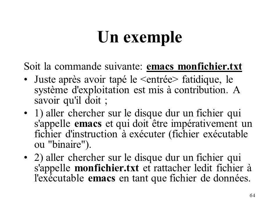 64 Un exemple Soit la commande suivante: emacs monfichier.txt Juste après avoir tapé le fatidique, le système d'exploitation est mis à contribution. A