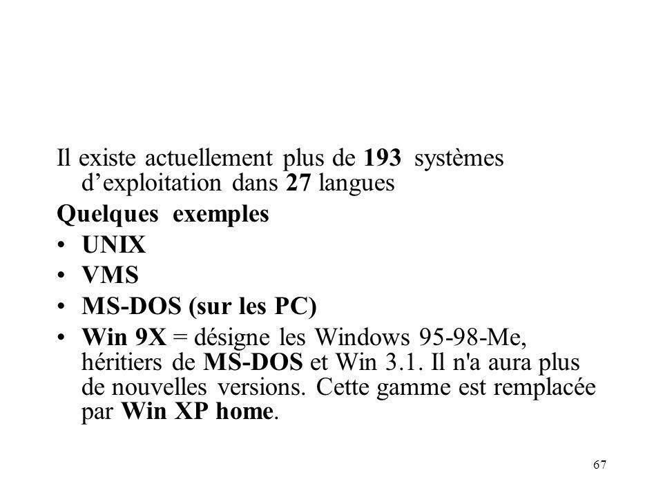 67 Il existe actuellement plus de 193 systèmes dexploitation dans 27 langues Quelques exemples UNIX VMS MS-DOS (sur les PC) Win 9X = désigne les Windows 95-98-Me, héritiers de MS-DOS et Win 3.1.