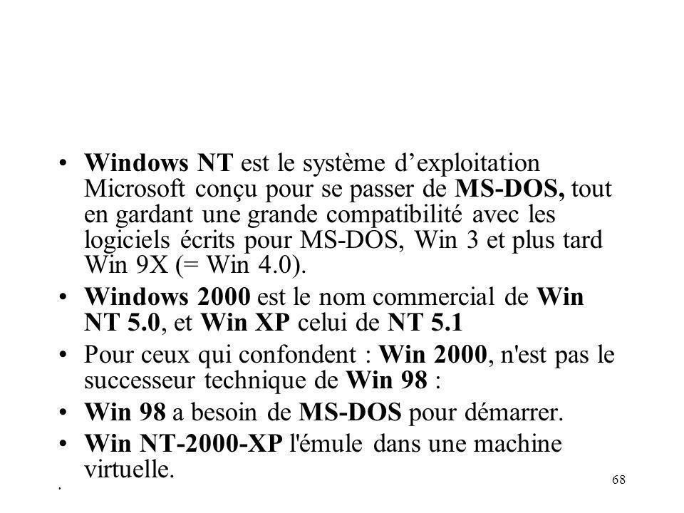 68 Windows NT est le système dexploitation Microsoft conçu pour se passer de MS-DOS, tout en gardant une grande compatibilité avec les logiciels écrits pour MS-DOS, Win 3 et plus tard Win 9X (= Win 4.0).