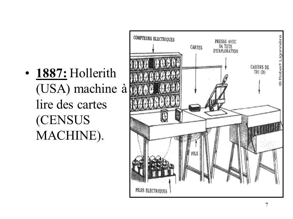 38 Caractéristiques dun ordinateur Machine contrôlée par programme Programme enregistré en mémoire Instruction du programme codée sous forme binaire Le programme peut modifier ses instructions Exécution des instructions en séquence Existence dinstructions de rupture de séquence.