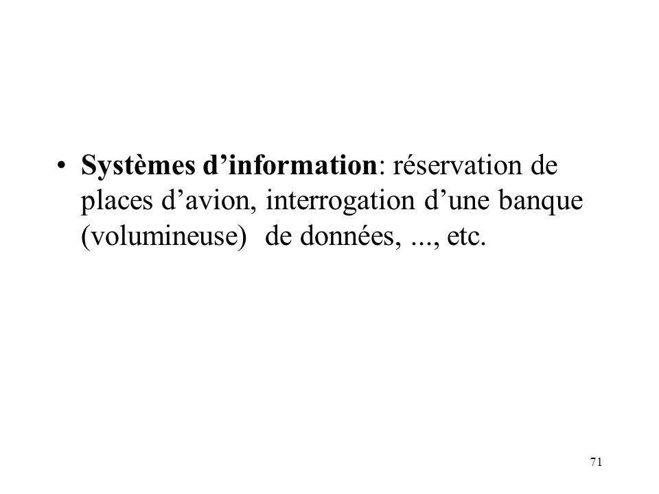 71 Systèmes dinformation: réservation de places davion, interrogation dune banque (volumineuse) de données,..., etc.