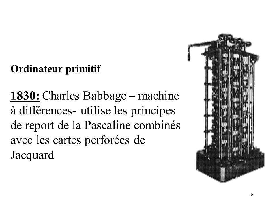 9 1834: Charles Babbage- machine analytique- système de numération décimal; accepte des nombres de 50 chiffres; en résultat, un nombre de 100 chiffres (imprimé; cartes perforées; courbe)- projet non finalisé.