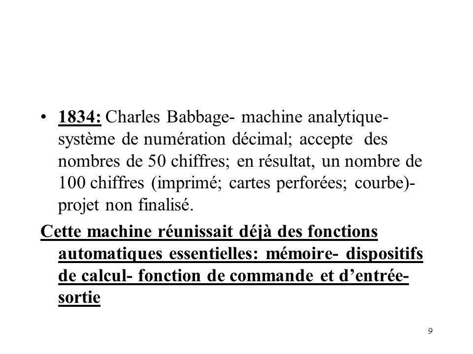 9 1834: Charles Babbage- machine analytique- système de numération décimal; accepte des nombres de 50 chiffres; en résultat, un nombre de 100 chiffres