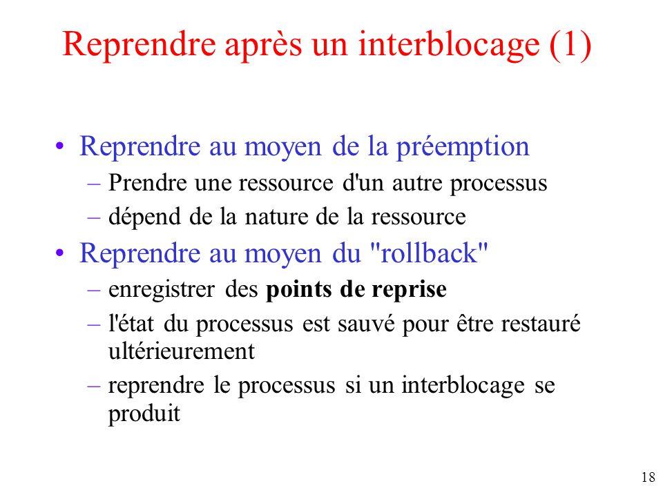 17 Détection avec plusieurs ressources de chaque type (2) Exemple de détection d'interblocage Ressources existantes Ressources disponibles
