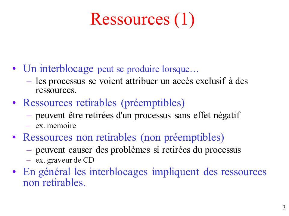 2 Ressources Exemples de ressources –imprimantes –lecteurs de rubans –fichiers –tables internes du système L'ordre dans lequel les ressources sont att