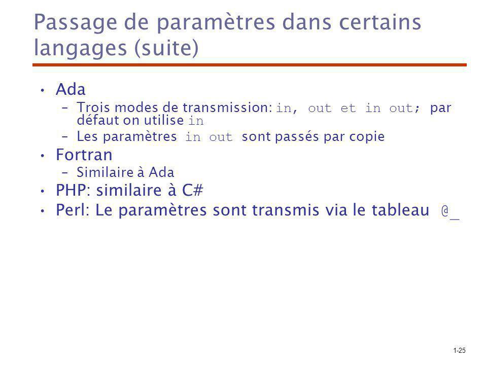 1-25 Passage de paramètres dans certains langages (suite) Ada –Trois modes de transmission: in, out et in out; par défaut on utilise in –Les paramètres in out sont passés par copie Fortran –Similaire à Ada PHP: similaire à C# Perl: Le paramètres sont transmis via le tableau @_