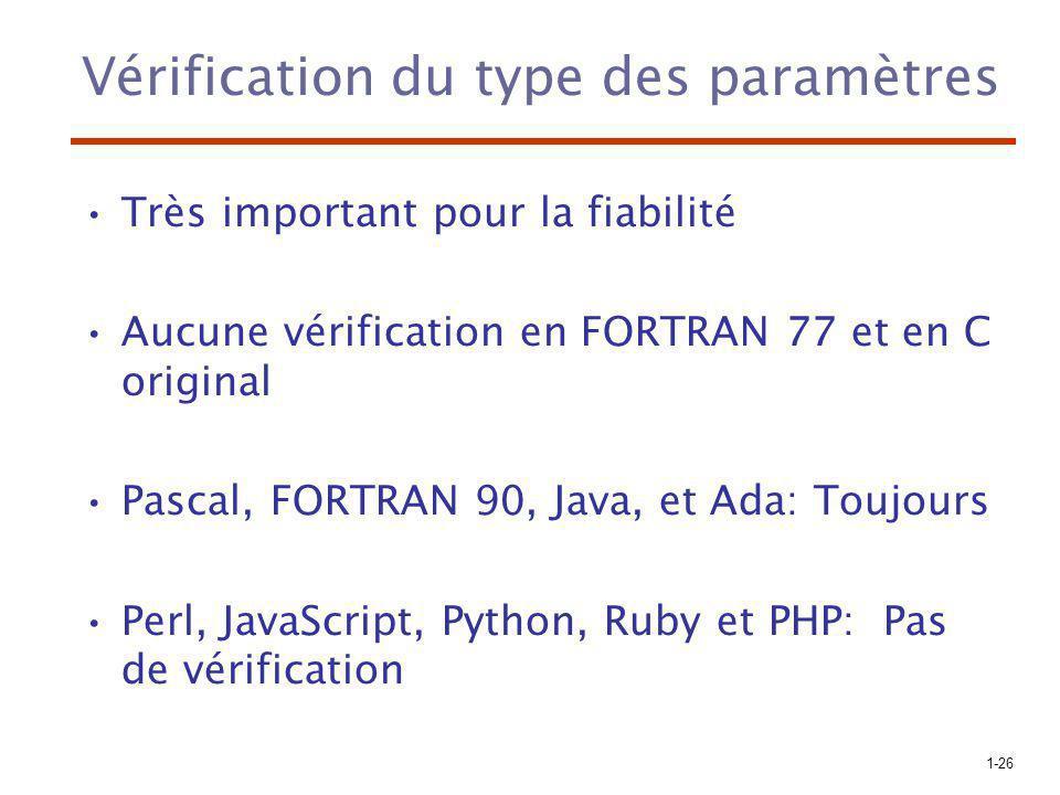 1-26 Vérification du type des paramètres Très important pour la fiabilité Aucune vérification en FORTRAN 77 et en C original Pascal, FORTRAN 90, Java, et Ada: Toujours Perl, JavaScript, Python, Ruby et PHP: Pas de vérification