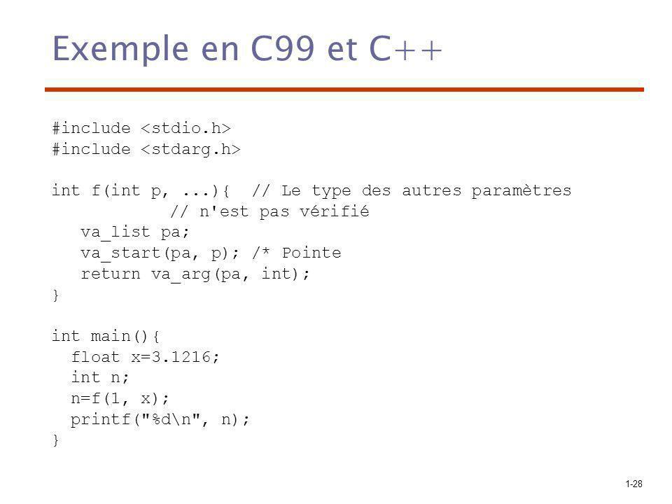 1-28 Exemple en C99 et C++ #include int f(int p,...){ // Le type des autres paramètres // n est pas vérifié va_list pa; va_start(pa, p); /* Pointe return va_arg(pa, int); } int main(){ float x=3.1216; int n; n=f(1, x); printf( %d\n , n); }