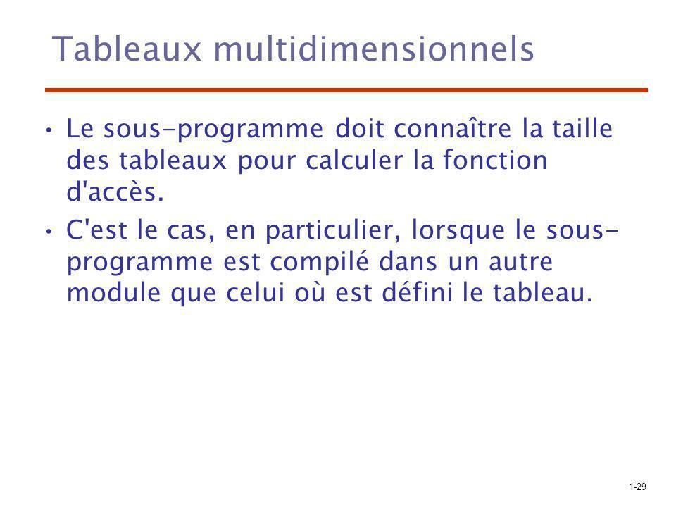 1-29 Tableaux multidimensionnels Le sous-programme doit connaître la taille des tableaux pour calculer la fonction d accès.