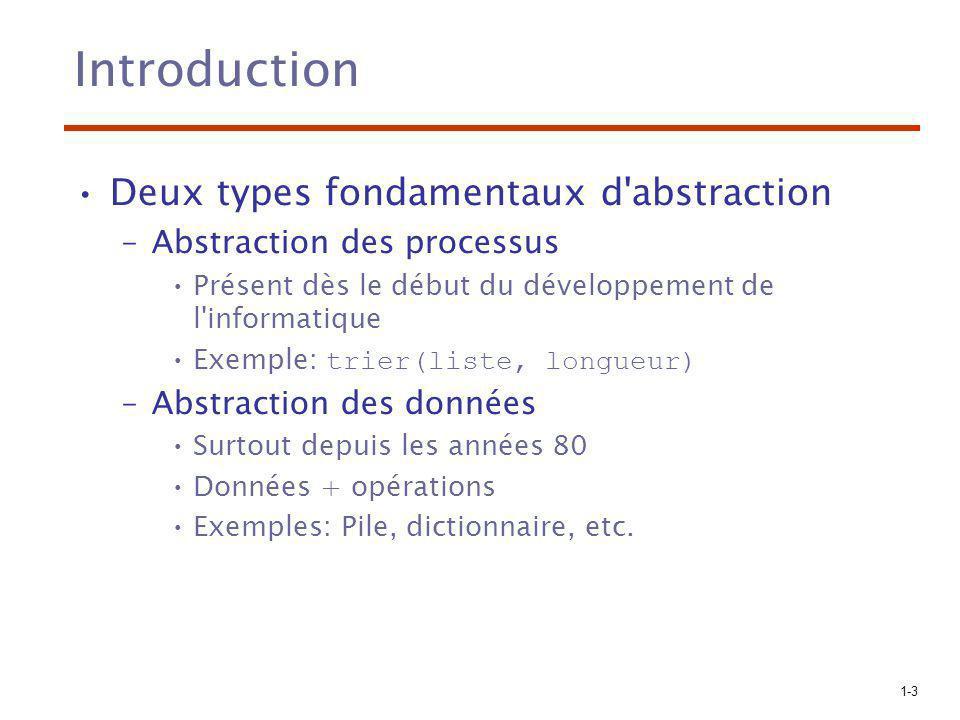 1-3 Introduction Deux types fondamentaux d abstraction –Abstraction des processus Présent dès le début du développement de l informatique Exemple: trier(liste, longueur) –Abstraction des données Surtout depuis les années 80 Données + opérations Exemples: Pile, dictionnaire, etc.