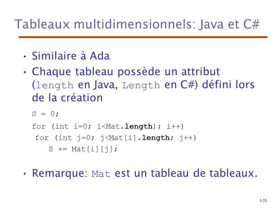 1-33 Tableaux multidimensionnels: Java et C# Similaire à Ada Chaque tableau possède un attribut ( length en Java, Length en C#) défini lors de la création S = 0; for (int i=0; i<Mat.length); i++) for (int j=0; j<Mat[i].length; j++) S += Mat[i][j]; Remarque: Mat est un tableau de tableaux.