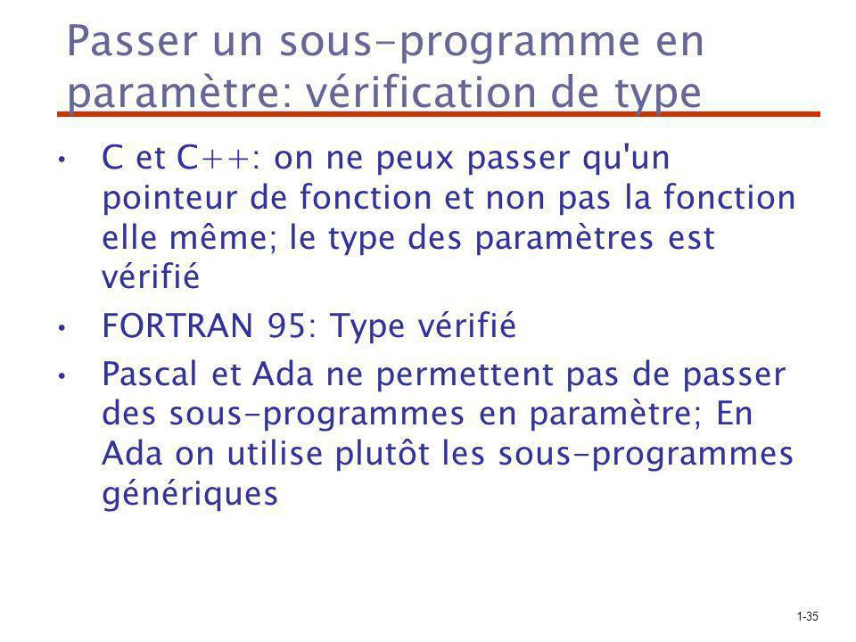 1-35 Passer un sous-programme en paramètre: vérification de type C et C++: on ne peux passer qu un pointeur de fonction et non pas la fonction elle même; le type des paramètres est vérifié FORTRAN 95: Type vérifié Pascal et Ada ne permettent pas de passer des sous-programmes en paramètre; En Ada on utilise plutôt les sous-programmes génériques