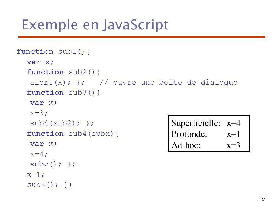 1-37 Exemple en JavaScript function sub1(){ var x; function sub2(){ alert(x); }; // ouvre une boite de dialogue function sub3(){ var x; x=3; sub4(sub2); }; function sub4(subx){ var x; x=4; subx(); }; x=1; sub3(); }; Superficielle:x=4 Profonde:x=1 Ad-hoc:x=3