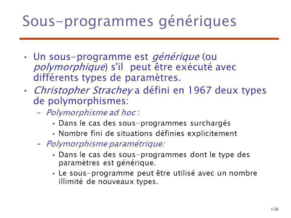 1-39 Sous-programmes génériques Un sous-programme est générique (ou polymorphique) s il peut être exécuté avec différents types de paramètres.