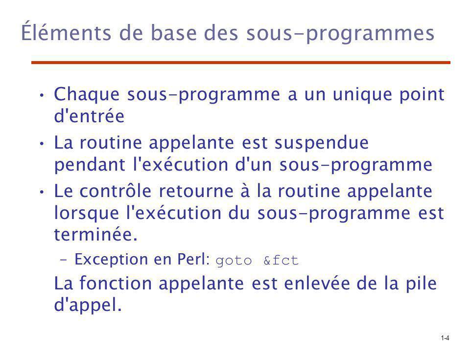 1-4 Éléments de base des sous-programmes Chaque sous-programme a un unique point d entrée La routine appelante est suspendue pendant l exécution d un sous-programme Le contrôle retourne à la routine appelante lorsque l exécution du sous-programme est terminée.