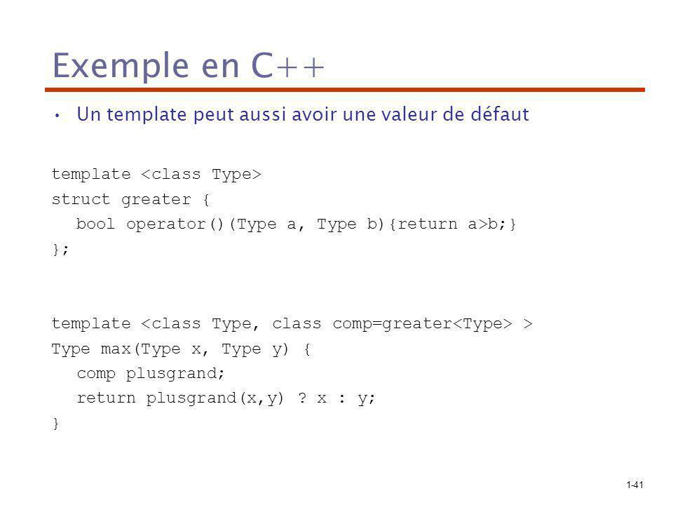 1-41 Exemple en C++ Un template peut aussi avoir une valeur de défaut template struct greater { bool operator()(Type a, Type b){return a>b;} }; template > Type max(Type x, Type y) { comp plusgrand; return plusgrand(x,y) .