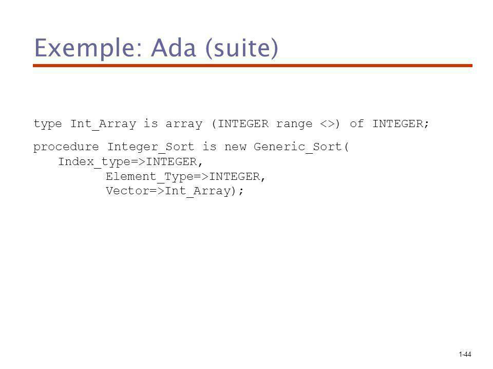 1-44 Exemple: Ada (suite) type Int_Array is array (INTEGER range <>) of INTEGER; procedure Integer_Sort is new Generic_Sort( Index_type=>INTEGER, Element_Type=>INTEGER, Vector=>Int_Array);