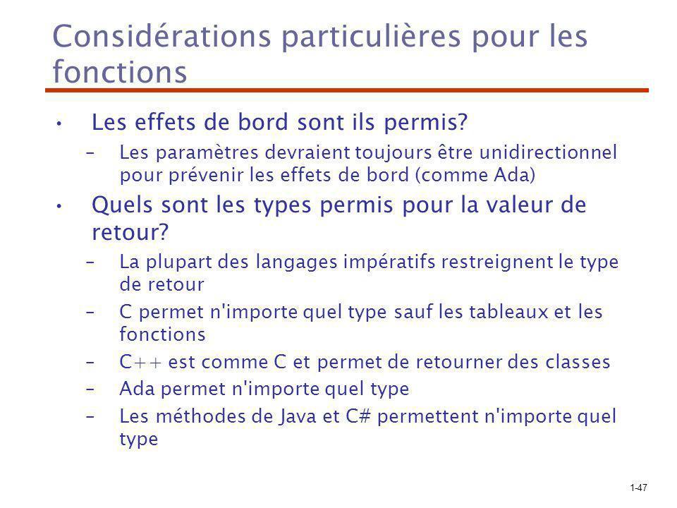 1-47 Considérations particulières pour les fonctions Les effets de bord sont ils permis.
