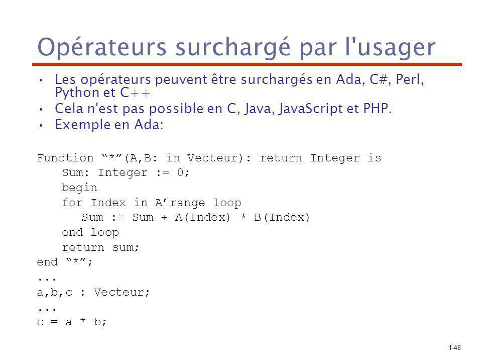 1-48 Opérateurs surchargé par l usager Les opérateurs peuvent être surchargés en Ada, C#, Perl, Python et C++ Cela n est pas possible en C, Java, JavaScript et PHP.