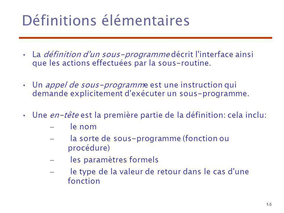 1-5 Définitions élémentaires La définition d un sous-programme décrit l interface ainsi que les actions effectuées par la sous-routine.