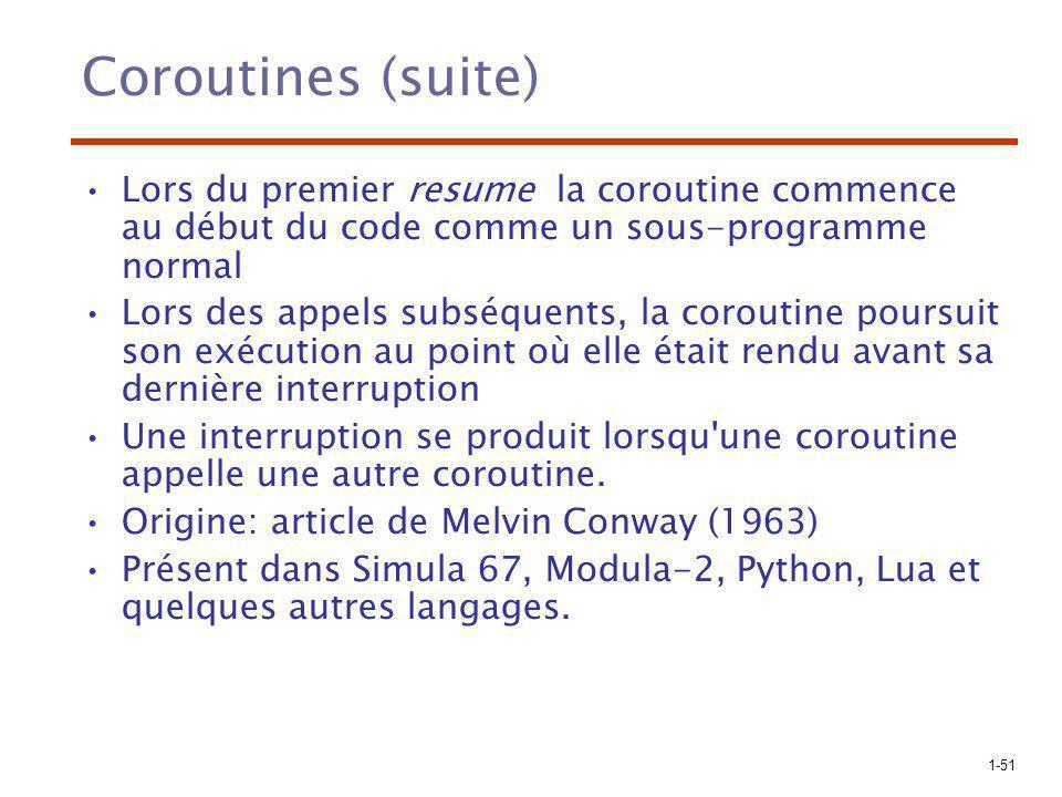 1-51 Coroutines (suite) Lors du premier resume la coroutine commence au début du code comme un sous-programme normal Lors des appels subséquents, la coroutine poursuit son exécution au point où elle était rendu avant sa dernière interruption Une interruption se produit lorsqu une coroutine appelle une autre coroutine.