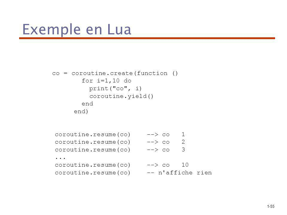 1-55 Exemple en Lua co = coroutine.create(function () for i=1,10 do print(