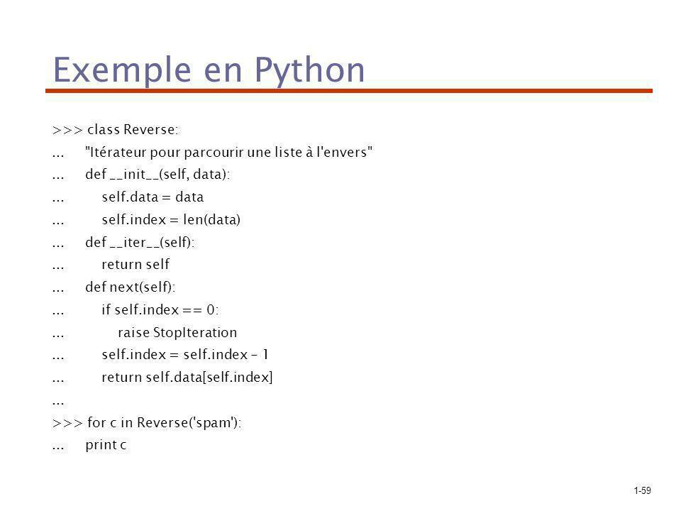 1-59 Exemple en Python >>> class Reverse:... Itérateur pour parcourir une liste à l envers ...