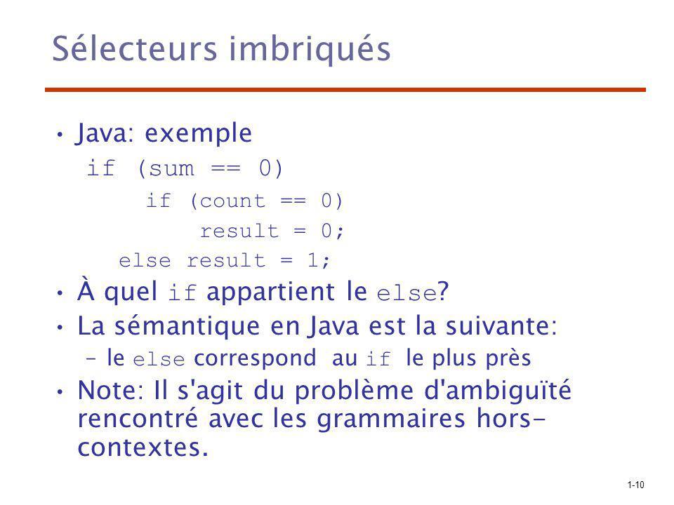 1-10 Sélecteurs imbriqués Java: exemple if (sum == 0) if (count == 0) result = 0; else result = 1; À quel if appartient le else ? La sémantique en Jav