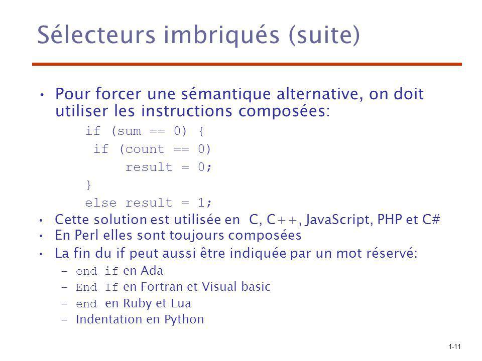 1-11 Sélecteurs imbriqués (suite) Pour forcer une sémantique alternative, on doit utiliser les instructions composées: if (sum == 0) { if (count == 0)