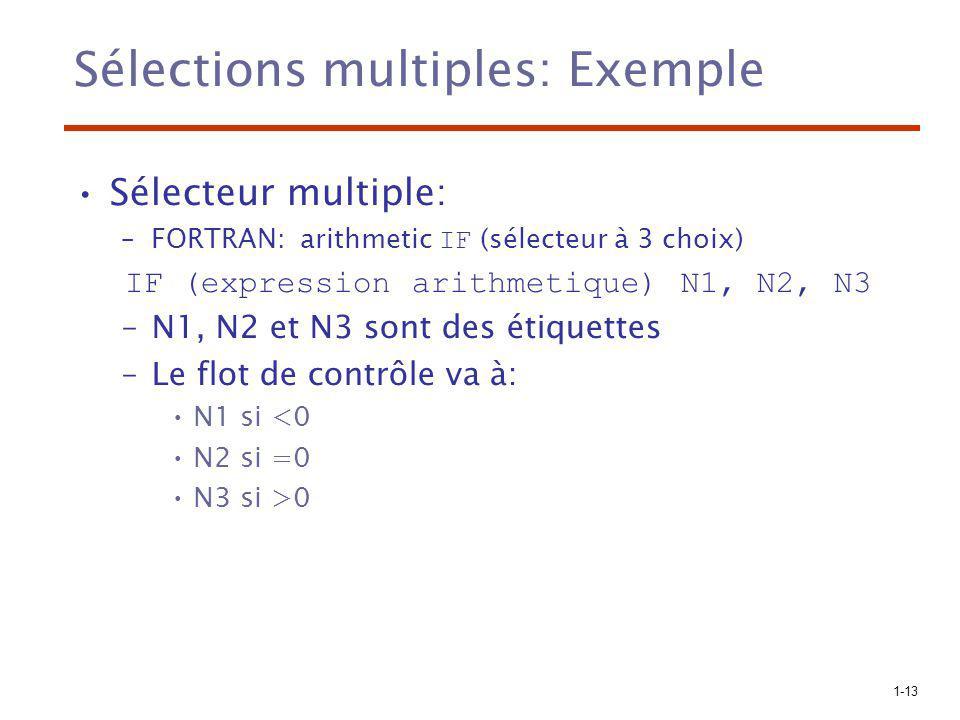 1-13 Sélections multiples: Exemple Sélecteur multiple: –FORTRAN: arithmetic IF (sélecteur à 3 choix) IF (expression arithmetique) N1, N2, N3 –N1, N2 e