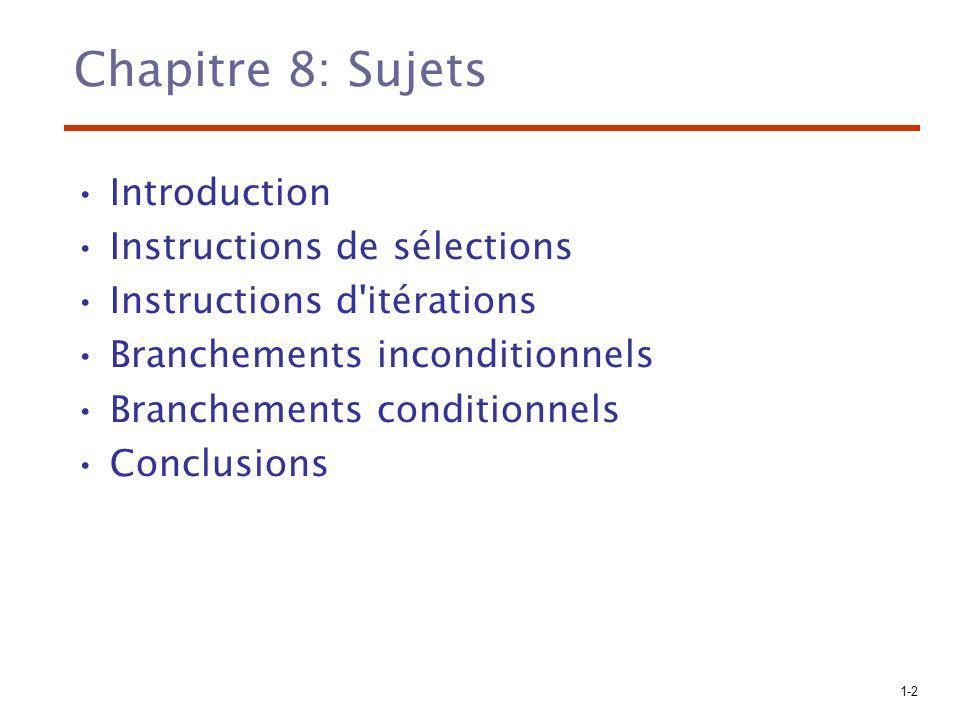1-3 Niveaux de flot de contrôle –Dans les expressions (chapitre 7) –Entre les différentes unités du programme (chapitres 9 et 10) –Entre les instructions