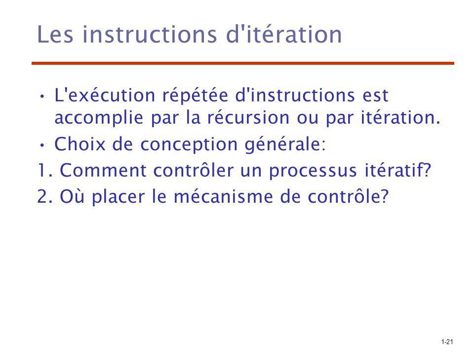 1-21 Les instructions d'itération L'exécution répétée d'instructions est accomplie par la récursion ou par itération. Choix de conception générale: 1.