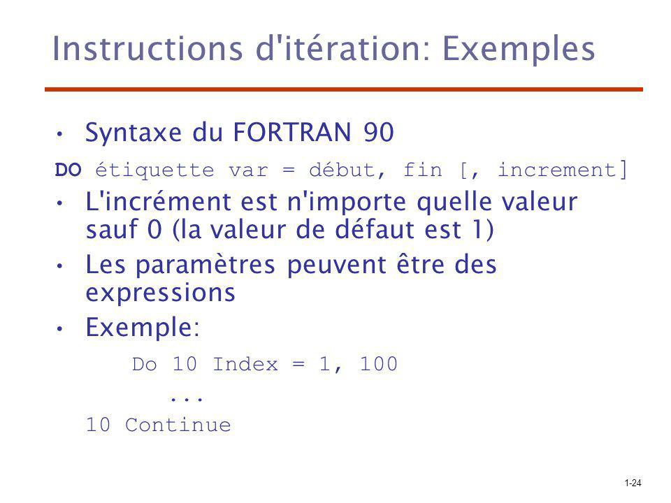 1-24 Instructions d'itération: Exemples Syntaxe du FORTRAN 90 DO étiquette var = début, fin [, increment ] L'incrément est n'importe quelle valeur sau