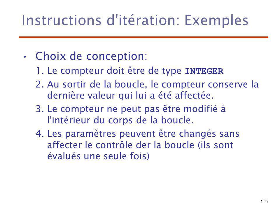 1-25 Instructions d'itération: Exemples Choix de conception: 1.Le compteur doit être de type INTEGER 2.Au sortir de la boucle, le compteur conserve la