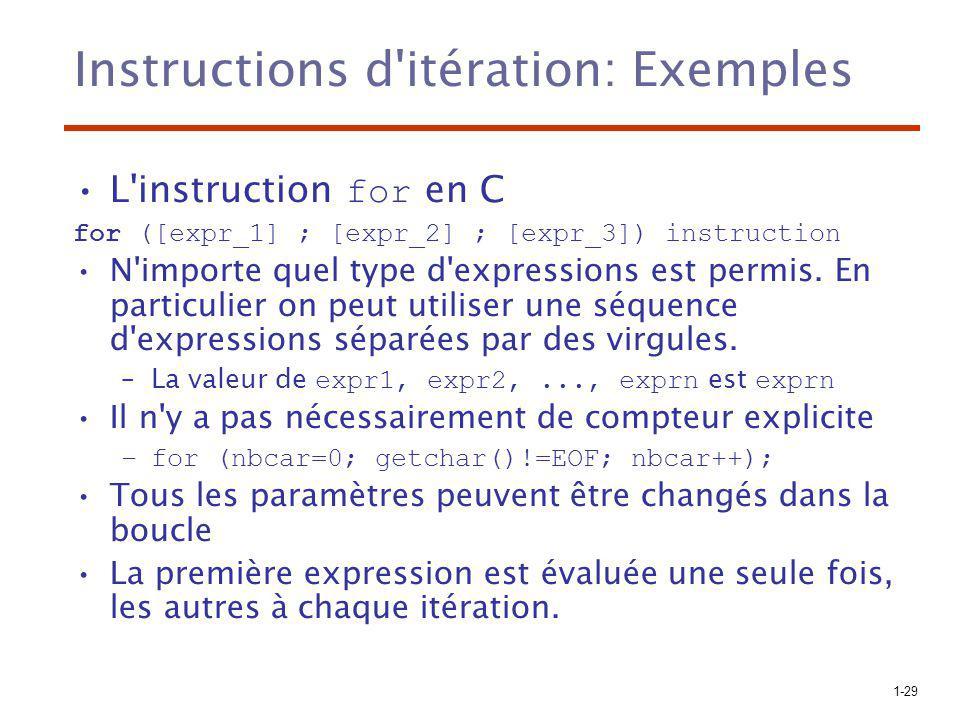 1-29 Instructions d'itération: Exemples L'instruction for en C for ([expr_1] ; [expr_2] ; [expr_3]) instruction N'importe quel type d'expressions est