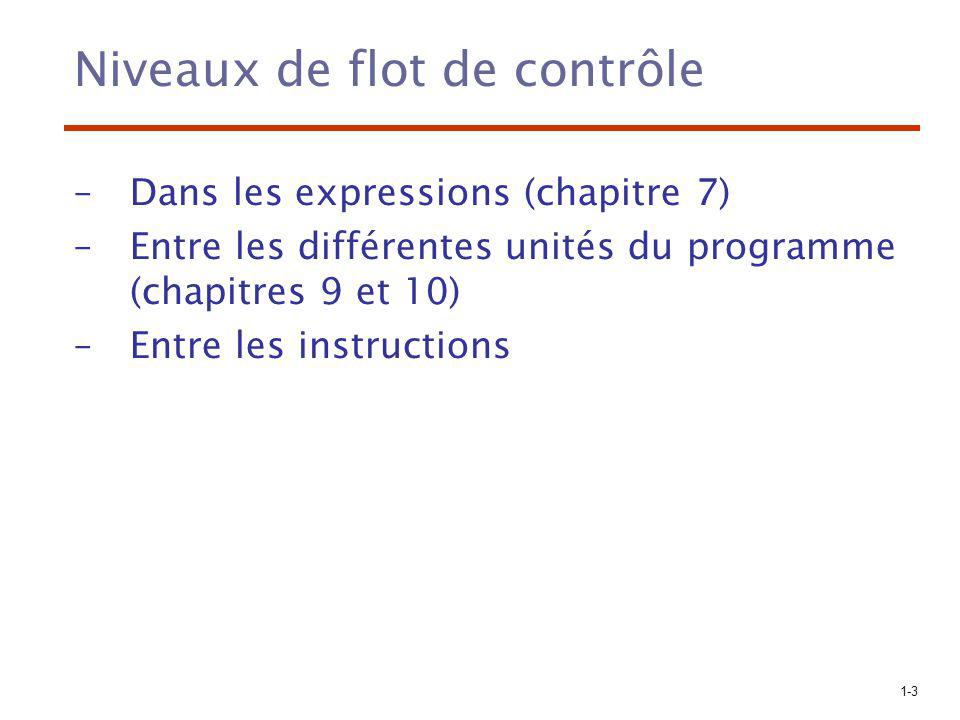 1-4 Instructions de contrôle: Évolution Années 50: –FORTRAN I: Directement liées à l architecture du IBM 704 –if et goto Années 60: –Résultat important: Il est prouvé que tout algorithme exprimé par un organigramme peut être encodé dans un langage possédant seulement 2 instructions de contrôle: 1.instruction pour choisir entre deux flots de contrôle 2.instruction pour le contrôle logique d un processus itératif –Conclusion: Le goto est utile mais non essentiel –La lisibilité et la facilité d écriture impose l utilisation de plus de 2 instructions de contrôle