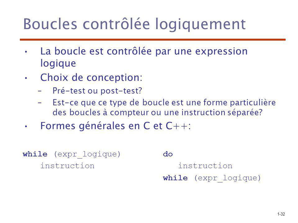 1-32 Boucles contrôlée logiquement La boucle est contrôlée par une expression logique Choix de conception: –Pré-test ou post-test? –Est-ce que ce type