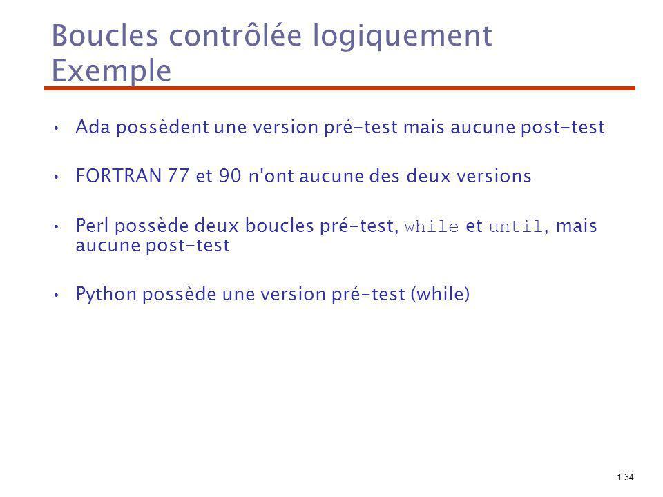 1-34 Boucles contrôlée logiquement Exemple Ada possèdent une version pré-test mais aucune post-test FORTRAN 77 et 90 n'ont aucune des deux versions Pe