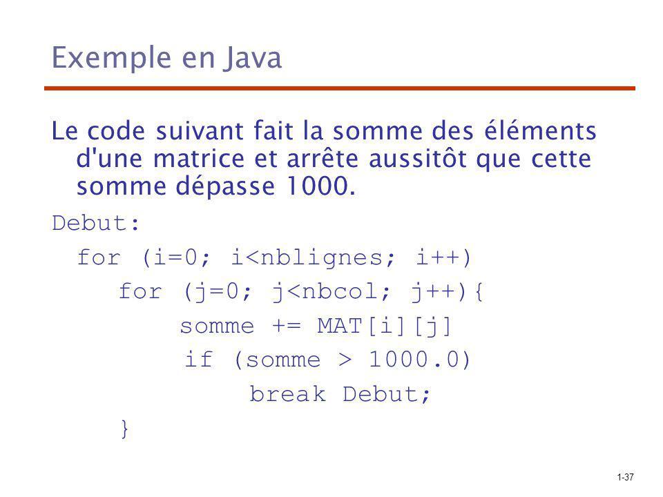 1-37 Exemple en Java Le code suivant fait la somme des éléments d'une matrice et arrête aussitôt que cette somme dépasse 1000. Debut: for (i=0; i<nbli