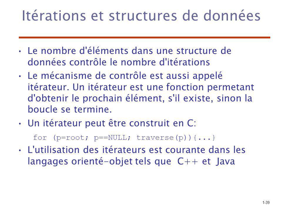 1-39 Itérations et structures de données Le nombre d'éléments dans une structure de données contrôle le nombre d'itérations Le mécanisme de contrôle e