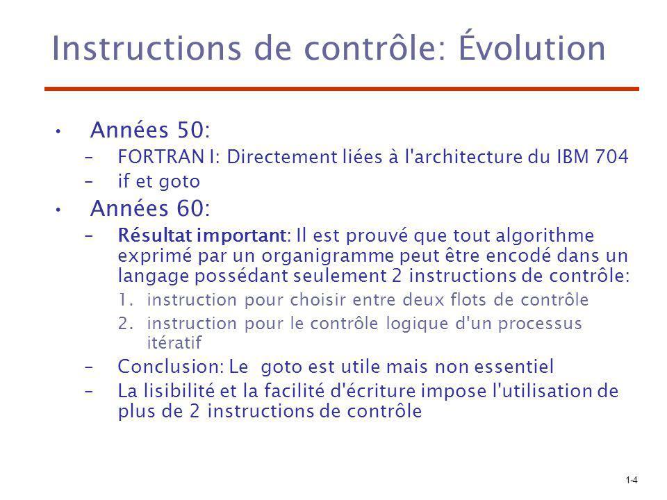 1-4 Instructions de contrôle: Évolution Années 50: –FORTRAN I: Directement liées à l'architecture du IBM 704 –if et goto Années 60: –Résultat importan
