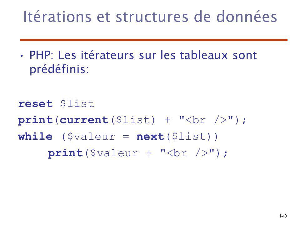 1-40 Itérations et structures de données PHP: Les itérateurs sur les tableaux sont prédéfinis: reset $list print(current($list) +