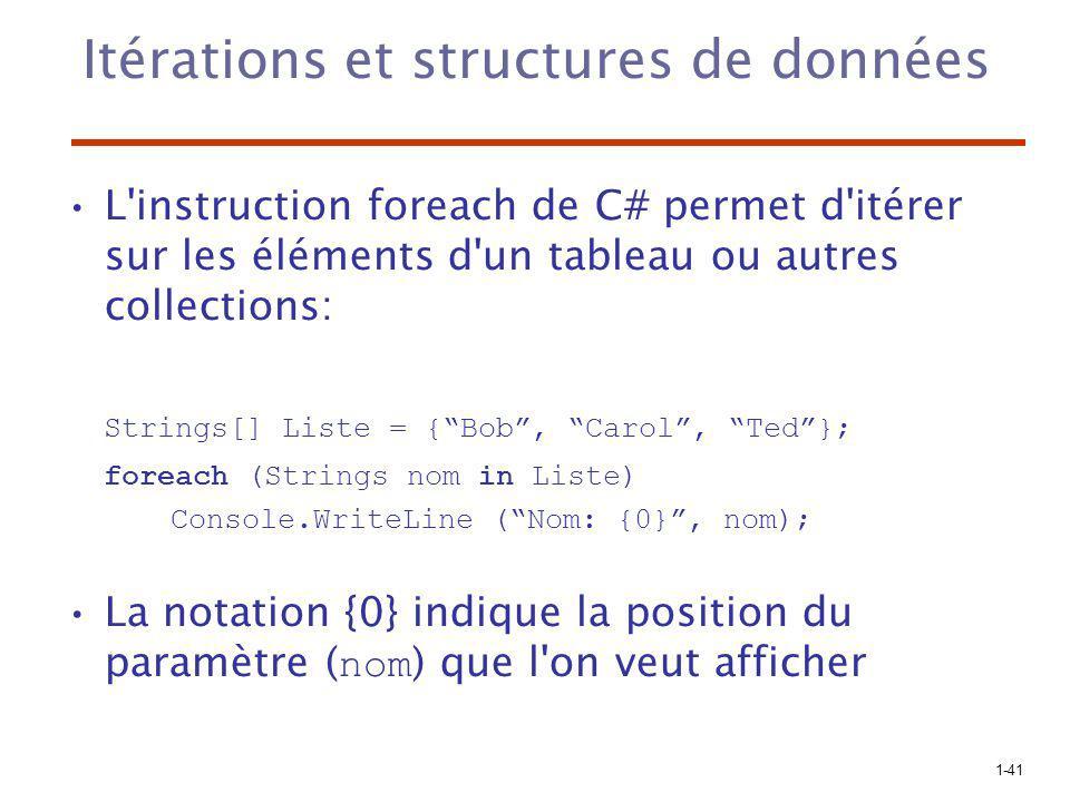 1-41 Itérations et structures de données L'instruction foreach de C# permet d'itérer sur les éléments d'un tableau ou autres collections: Strings[] Li