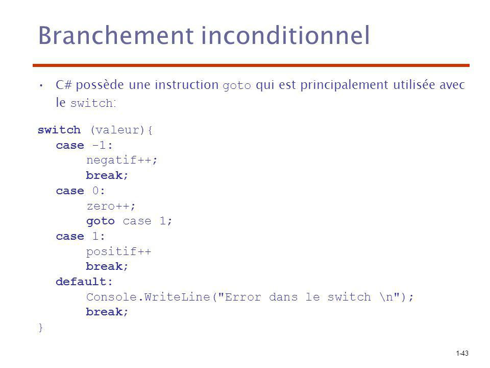 1-43 Branchement inconditionnel C# possède une instruction goto qui est principalement utilisée avec le switch : switch (valeur){ case -1: negatif++; break; case 0: zero++; goto case 1; case 1: positif++ break; default: Console.WriteLine( Error dans le switch \n ); break; }