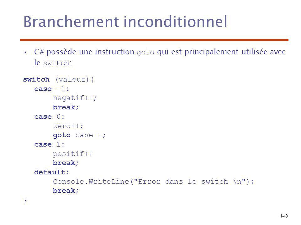 1-43 Branchement inconditionnel C# possède une instruction goto qui est principalement utilisée avec le switch : switch (valeur){ case -1: negatif++;