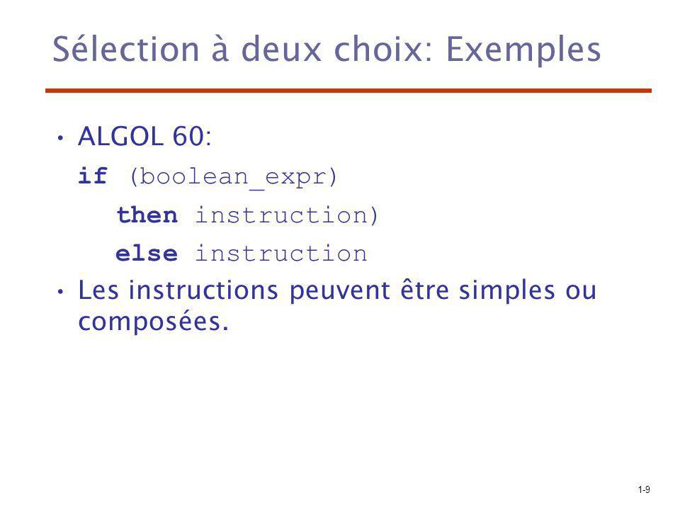1-30 Instructions d itération: Exemples C++ diffère du C de deux façons: 1.L expression de contrôle peut être booléenne 2.L expression initiale peut contenir des définitions (la portée est limitée à la boucle) Java et C# –L expression de contrôle doit être booléenne.